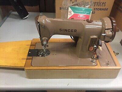 Vintage SINGER 185K Heavy Duty Electric Sewing Machine w/ Case & Accs & Manual
