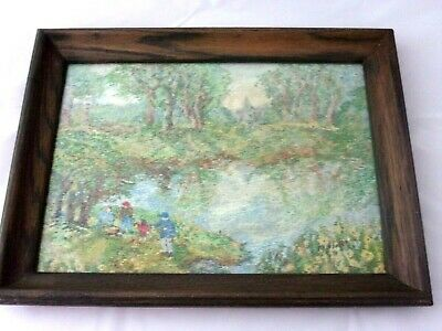 Lovely Vintage Framed Embroidery  Countryside/Lake/Picnic Scene