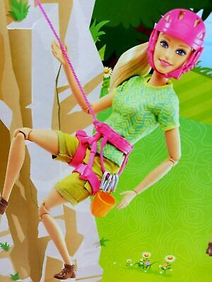 Camping Fun Barbie Made To Move Ultra Flexible Posable Rock Climbing Doll NEW