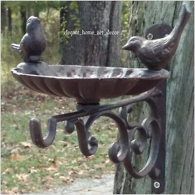 Vintage Cast Iron Wall Bracket Victorian Style Scroll Birdbath Plant Hanger Hook