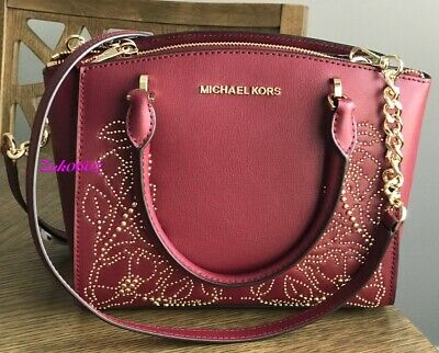 2a87672b6460 Nwt Michael Kors Ellis Small Stud Satchel Shoulder Bag Purse Mulberry