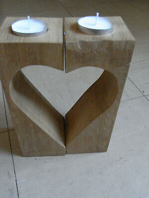 Solid oak bookends / tealight holders handmade from 18th century roof beams