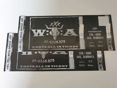 2 Wacken Tickets 2019 01.08. - 03.08.2019 - 3 Days All In