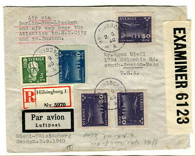 Sweden 1940 multi-stamp Censored Air Mail cover to USA via Berlin, Rome, Lisbon
