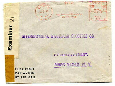 Sweden 1941 machine stamped 75ore Air Mail censored cover Ulvsunda to New York