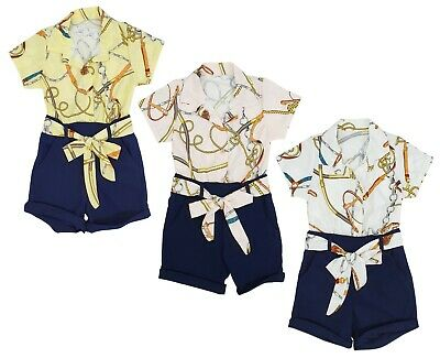 Kids Girls Floral Print Shirt Playsuit Jumpsuit Outfit Short Set Age 4-14 Years
