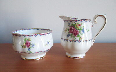 Royal Albert Petit Point Creamer + Open Sugar Bowl Pink Blue Gold Trim England