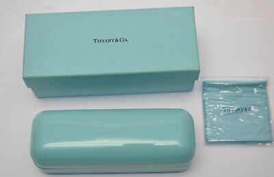 Tiffany & Co. Blue Hard Clamshell Sunglass Eye Glasses Case w/ Cloth New in Box
