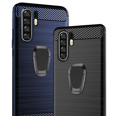 For Huawei P30 Pro P20 Lite Soft Carbon Fiber Case Cover + Magnetic Ring Holder