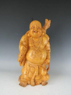"""A Chinese Wood Carving Happy Buddha Statue 18"""" High"""