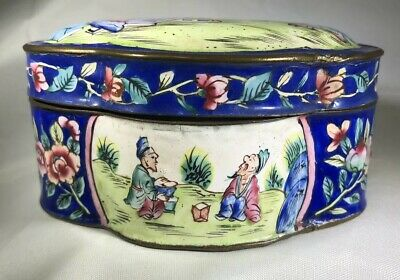 Antique Chinese Peking Canton Enamel Lobed Small Snuff Trinket Box Blue