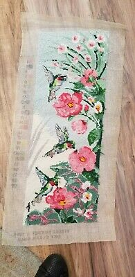 Bird Floral Completed Finished Needework Needlepoint READ