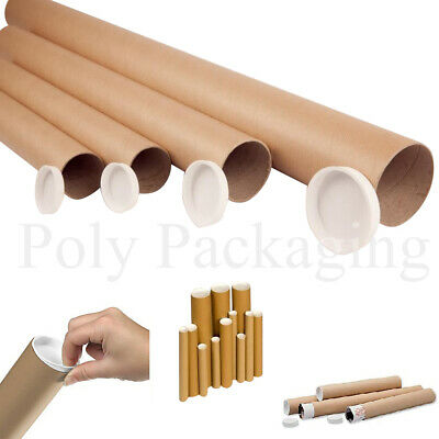 """25 x Cardboard POSTAL TUBES A3/A4(330x50mm) 13""""+PLASTIC CAPS Packing Postage"""