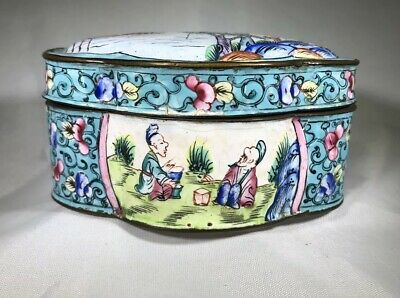 Antique Chinese Peking Canton Enamel Lobed Small Snuff Trinket Box LtBlue/Pastel