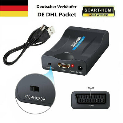 Universal Scart zu auf HDMI Video Konverter Adapter Wandler HD TV AV USB Kabel