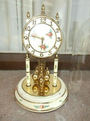 Vintage Kundo Kieninger & Obergfell Glass Dome Clock Made In West Germany & Key