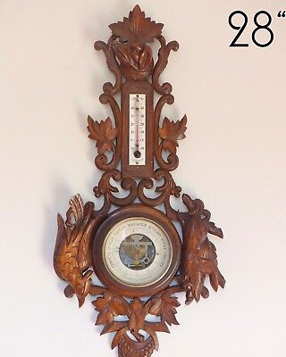 "Antique French Black Forest Carved 28"" Barometer & Thermometer Hunting theme"