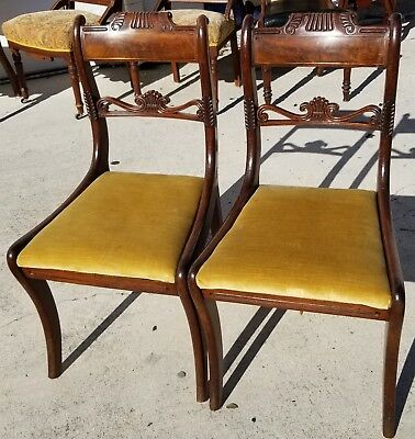 Set of 2 William IV 1830 Hand Carved Mahogany Chairs Burl Bar Back w Brass Inlay