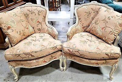 2 Country French Provincial Louis XV Upholstered Hand Carved Armchairs w Pillows