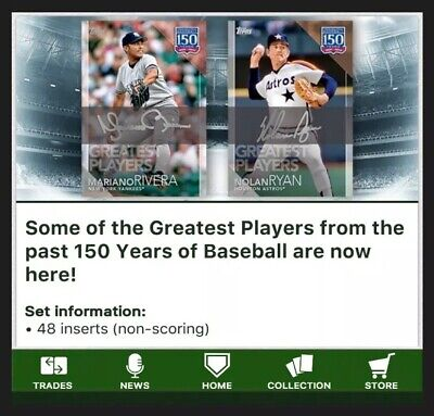 Greatest Players-150 Years Of Baseball-48 Card Set-Topps Bunt 19 Digital