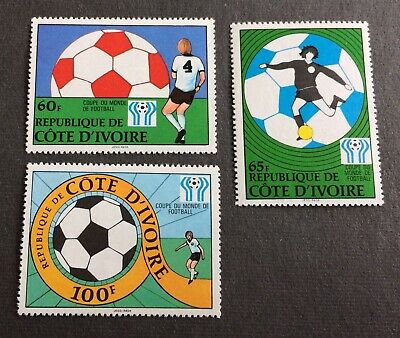 1978 Football Argentina - 3 top mint stamps Ivory Coast - Michel No. 552-554