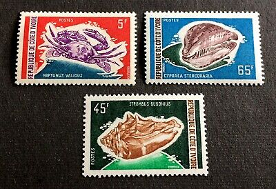 Fauna of the sea - 3 mint stamps Ivory Coast 1971-1972 - with Michel No. 398