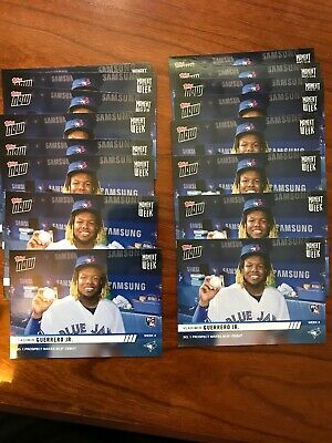 LOT of (16) Vladimir Guerrero Jr. Rookie 2019 Topps Now Moment of the Week RC