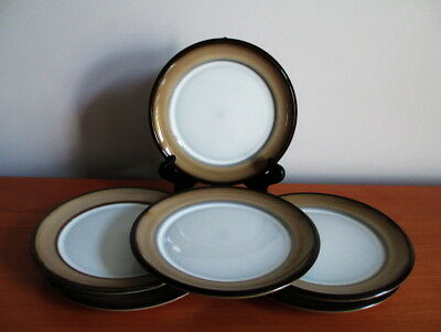 "Denby Country Cuisine Set 6 Bread Dessert Plates 6 1/2"" Brown Tan England"
