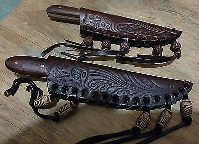 Lot 2 Patch Scalping Hunting Bowie Knives Knife W/ Beaded Sheath Case !!!