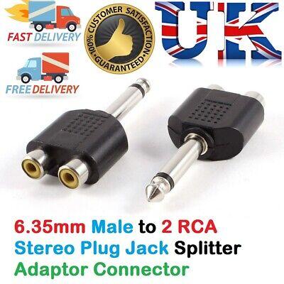 "6.35mm ¼"" Stereo Male to Dual RCA PHONO Female Splitter Adapter - Mic Converter"