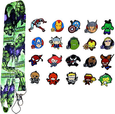 The Hulk Lanyard Set with 5 Marvel Themed Disney Park Trading Pins ~ Brand NEW