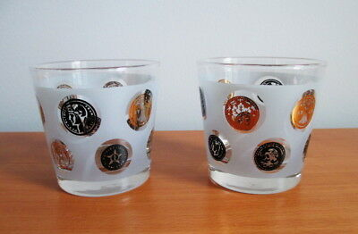 """Libbey Old Coins Set 2 Whiskey Tumblers 3 1/4"""" Frosted Black Gold MCM USA"""
