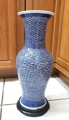 "Chinese Japanese Blue White Porcelain Large Geometric 18"" Vase with base AS-IS"