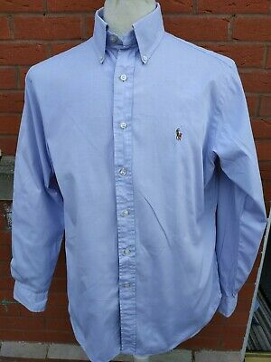 Mens Polo Ralph Lauren Lilac Shirt Long Sleeve Button Down Size 16.5 Large 44""