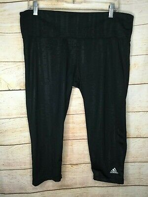 1d19fc66b9340 Adidas Climalite Striped Yoga Pants Black Capri Workout Leggings Women's XL