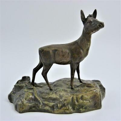 Antique Bronzed Cast Metal Figure Of A Deer On A Rocky Outcrop, 19Th Century
