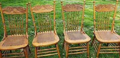 Antique Oak Pressed Back Chairs set of 6