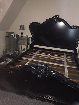 King size French Style Shabby Chic Black Wooden Bed