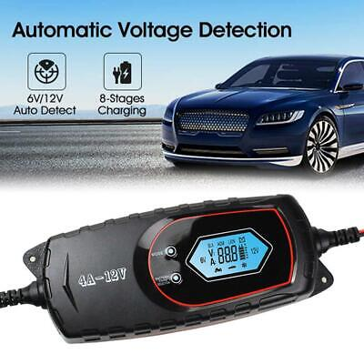 4A 6V/12V Auto Fast Smart LCD Battery Charger Automatic For Car Motorcycle