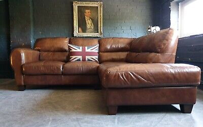 5006.Chesterfield Vintage Corner Brown Club 3 Seater Leather Sofa DELIVERY AV**