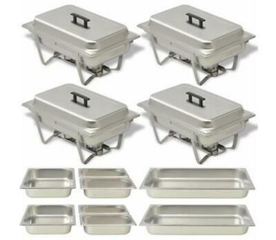 NEW 4 Piece Catering Stainless Steel Food Chafing Serving Warmer Dish Trays Set