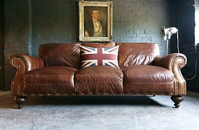 5008.Chesterfield Leather Vintage 3 Seater Club Brown Sofa DELIVERY AVAILABLE **