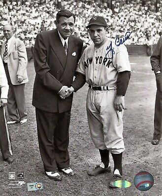 YOGI BERRA HOF signed New York Yankees Photo with Babe Ruth Steiner and MLB COA