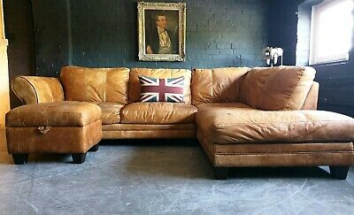 5012.Chesterfield Vintage tan 3 Seater Leather Club Corner Sofa DELIVERY AV **