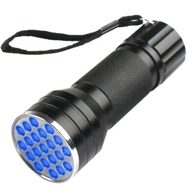 1X UV Ultra Violet 21 LED Flashlight Mini Blacklight Aluminum Torch Light Lamp V