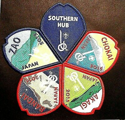 RARE OFFICIAL 23rd 2015 WORLD SCOUT JAMBOREE 5 BADGE PATCH SET not 2019 24th WSJ