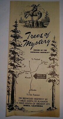 Vintage 1950s Trees of Mystery Redwood Highway CA Requa FOLD OUT BROCHURE
