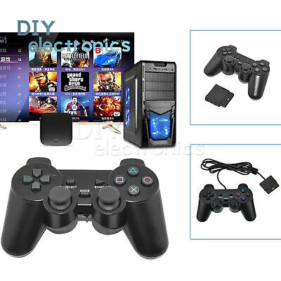Wired 2.4G Wireless Dual Shock Controller for PS2 PlayStation Joypad Gamepad US