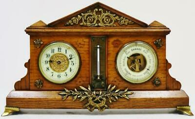 Antique French 8 Day Oak & Bronze Combination Mantel Clock Barometer Thermometer