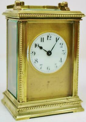 Antique French Brass & Glass 8 Day Timepiece Carriage Clock Original Carry Case